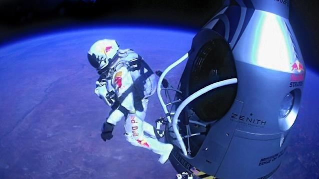 FILE - This Sunday, Oct. 14, 2012 file image provided by Red Bull Stratos shows pilot Felix Baumgartner of Austria as he jumps out of the capsule during the final manned flight for Red Bull Stratos. In a giant leap from more than 24 miles up, Baumgartner shattered the sound barrier Sunday while making the highest jump ever ó a tumbling, death-defying plunge from a balloon to a safe landing in the New Mexico desert. (AP Photo/Red Bull Stratos)
