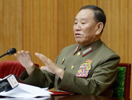 FILE PHOTO: North Korea's general reconnaissance bureau head Kim Yong Chol speaks during an emergency briefing for diplomats basing in North Korea, in Pyongyang August 21, 2015, in this photo released by Kyodo. Mandatory credit REUTERS/Kyodo