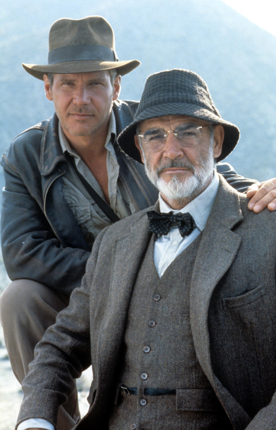 Harrison Ford and Sean Connery on set of the film 'Indiana Jones And The Last Crusade', 1989. (Photo by Paramount/Getty Images)