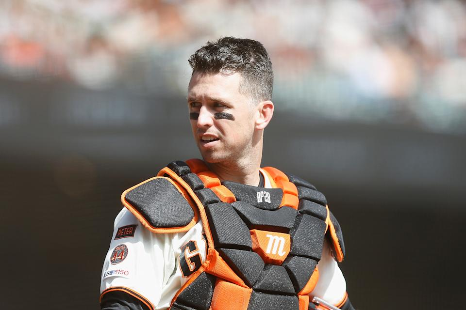 Catcher Buster Posey #28 of the San Francisco Giants