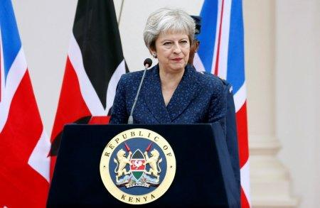 FILE PHOTO: Britain's Prime Minister Theresa May addresses a joint news conference with Kenya's President Uhuru Kenyatta at the State House in Nairobi, Kenya August 30, 2018. REUTERS/Baz Ratner