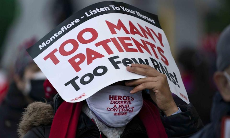 Nurses during a strike over safe staffing issues at Montefiore hospital in New Rochelle, New York