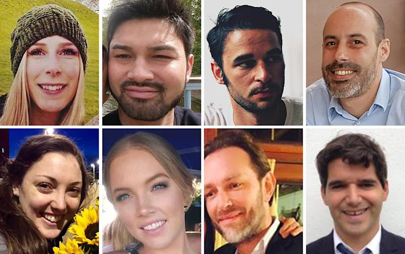 Victims of the London Bridge terrorist attack (top row left to right) Canadian Christine Archibald, James McMullan, Alexandre Pigeard, French chef Sebastien Belanger, (bottom row left to right) Australian nurse Kirsty Boden, Australian Sara Zelenak, Xavier Thomas and Spanish banker Ignacio Echeverria (Picture: PA)