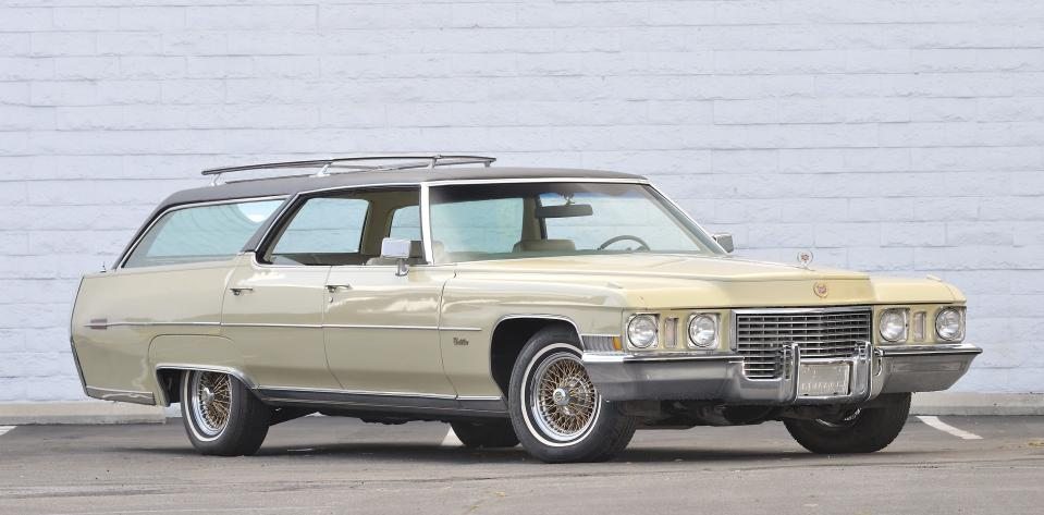 """This photo provided by Courtesy of Mecum Auctions, Elvis Presley's 1972 Cadillac Custom Estate Wagon is shown. Elvis Presley's Cadillac, Steve McQueen's old truck and prescription sunglasses worn by John Lennon are among hundreds of items once owned by celebrities that are scheduled to be auctioned in California next month. The Mecum Auction Company said Wednesday, June 26, 2013, it will be displaying and auctioning about 2,000 pieces of celebrity-related memorabilia in Santa Monica, Calif. on July 26-27. Mecum, which specializes in the sale of collector cars, says one of the auction's highlights will be Elvis' 1972 Cadillac Custom Estate Wagon. """"The King of Rock n' Roll"""" owned the car from 1972 until his death in 1977, according to Mecum's Web site. (AP Photo/Courtesy of Mecum Auctions, David Newhardt)"""