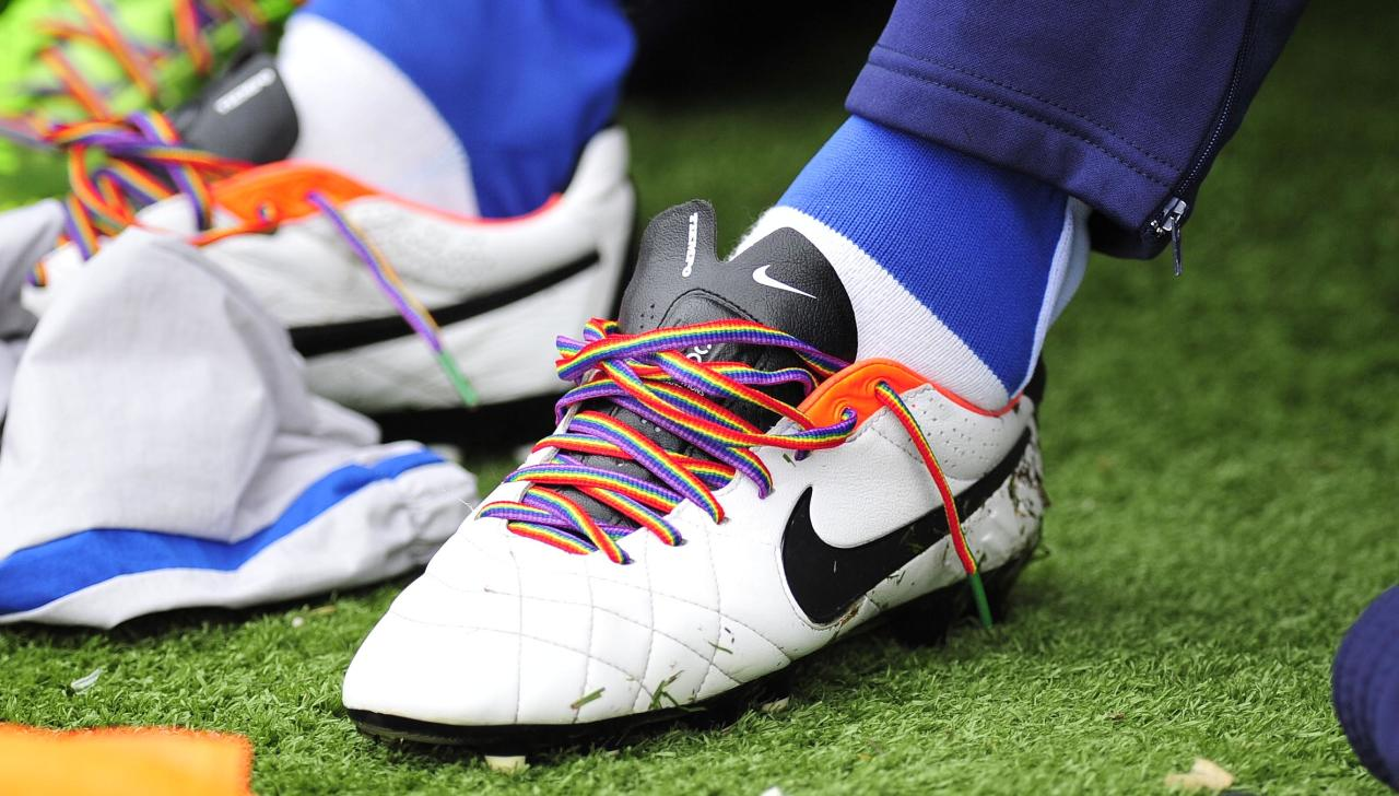 Bristol Rovers players wear rainbow boot laces during the Sky Bet League Two match at the Memorial Stadium, Bristol.