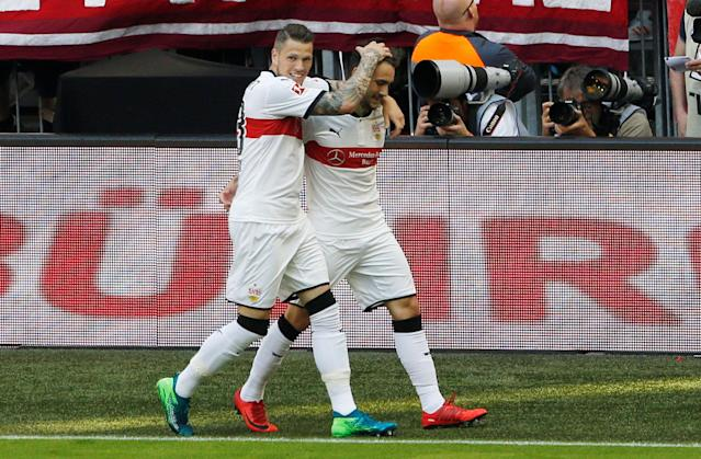 Soccer Football - Bundesliga - Bayern Munich v VfB Stuttgart - Allianz Arena, Munich, Germany - May 12, 2018 Stuttgart's Daniel Ginczek celebrates scoring their first goal REUTERS/Michaela Rehle DFL RULES TO LIMIT THE ONLINE USAGE DURING MATCH TIME TO 15 PICTURES PER GAME. IMAGE SEQUENCES TO SIMULATE VIDEO IS NOT ALLOWED AT ANY TIME. FOR FURTHER QUERIES PLEASE CONTACT DFL DIRECTLY AT + 49 69 650050