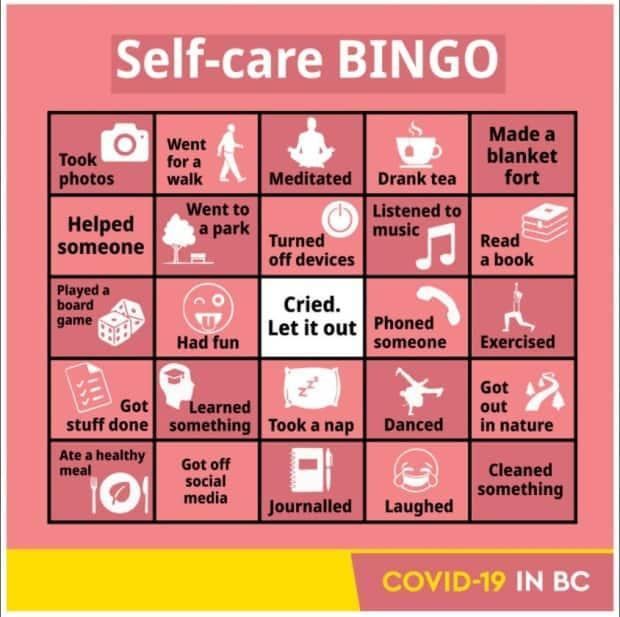 A screenshot of the 'self-care' bingo card posted to the province's Twitter account on Friday.
