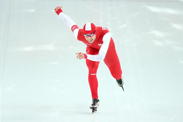 SOCHI, RUSSIA - FEBRUARY 15: Zbigniew Brodka of Poland competes during the Men's 1500m Speed Skating event on day 8 of the Sochi 2014 Winter Olympics at Adler Arena Skating Center on February 15, 2014 in Sochi, Russia. (Photo by Paul Gilham/Getty Images)