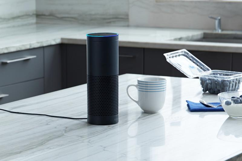 An Amazon Echo stis on a counter