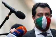 Leader of Italy's far-right League party Matteo Salvini speaks to the media, in Rome