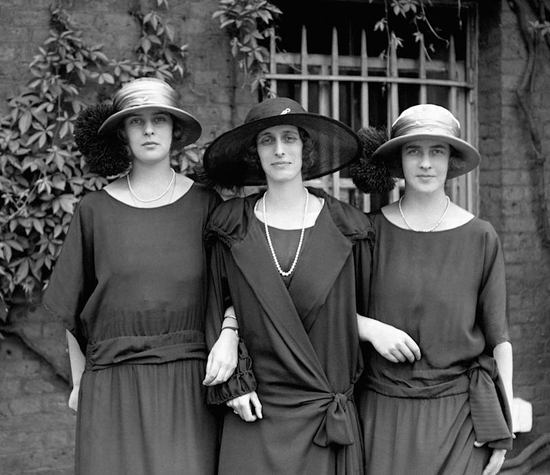 Lady Louise Mountbatten with Princess Theodora of Greece (left) and Princess Margarita of Greece (right), daughters of Prince Andrew of Greece and Denmark, and sisters of the Duke of Edinburgh. (Photo by PA Images via Getty Images)