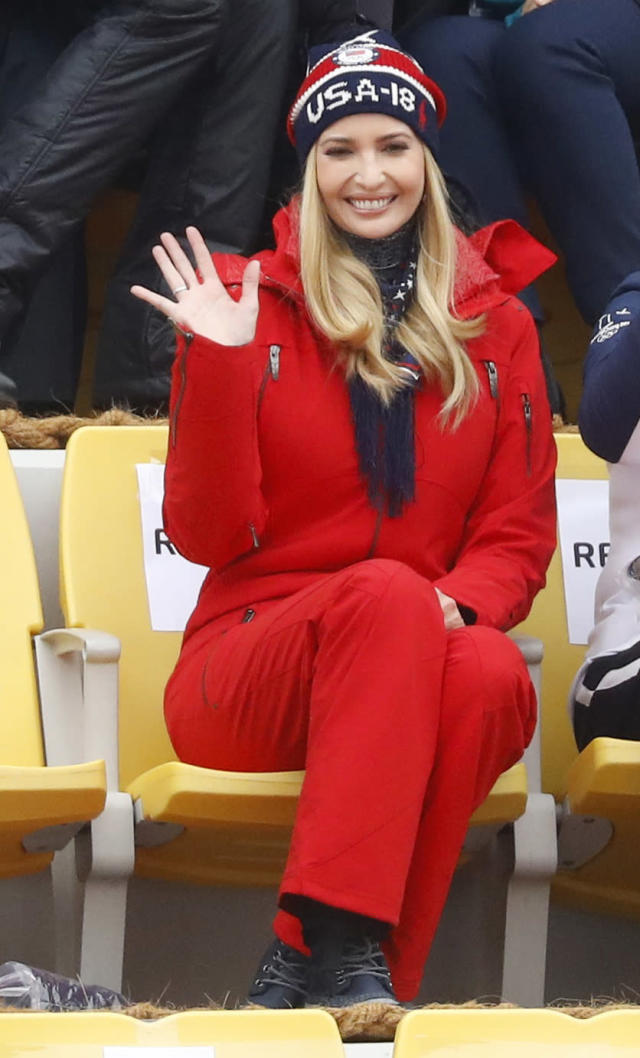 Snowboarding - Pyeongchang 2018 Winter Olympics - Men's Big Air Finals - Alpensia Ski Jumping Centre - Pyeongchang, South Korea - February 24, 2018 - U.S. President Donald Trump's daughter and senior White House adviser, Ivanka Trump waves from the stands. REUTERS/Kai Pfaffenbach