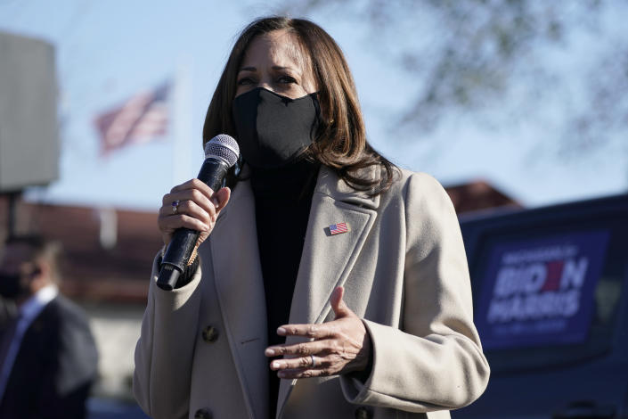 Vice Presidential candidate Kamala Harris on Election Day, in Southfield, Mich. (Photo: Getty Images)