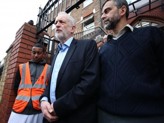 Jeremy Corbyn speaking outside Finsbury Park Mosque following the Christchurch mosque attacks (PA)