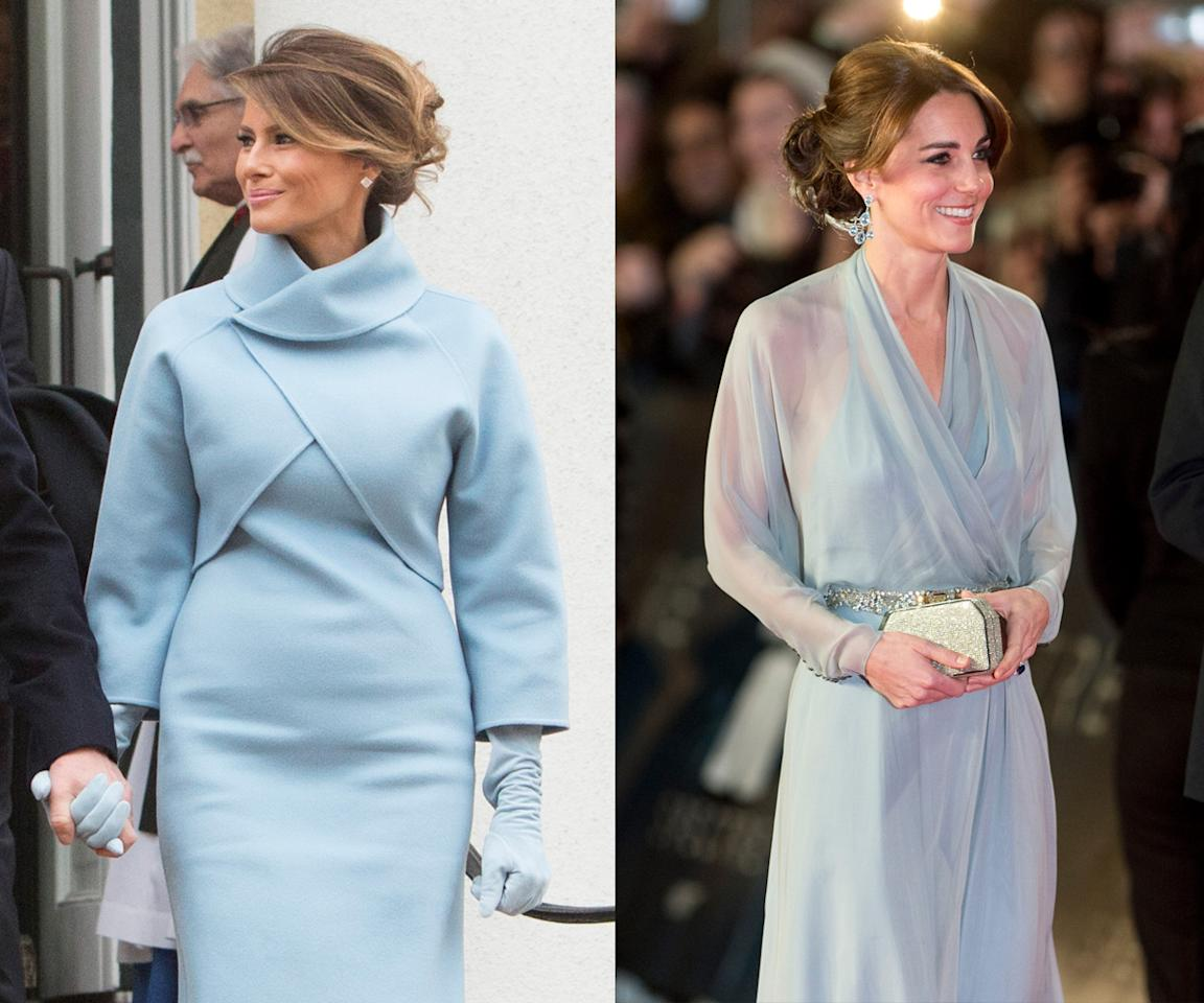 <p>Sky blue proved to be a perfect color on both powerful women. Melania Trump stepped out in the shade for the inauguration in January, whereas the Duchess of Cambridge called on her favorite designer to provide her something in the stunning shade for the premiere of the James Bond film <em>Spectre </em>in October 2015. (Photos: Getty Images) </p>