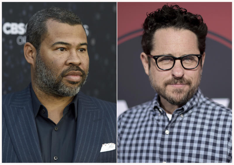 """This combination of photos shows Jordan Peele at the Los Angeles premiere of """"The Twilight Zone"""" on March 26, 2019, left, and J.J. Abrams at the Los Angeles premiere of """"Westworld"""" Season Two, on April 16, 2018. Georgia has become known as the """"Hollywood of the South"""" thanks to its generous tax incentives. Companies have in the past threatened to boycott filming in the state when values clashed with proposed laws, but in the week since Georgia Gov. Brian Kemp signed into law a measure that bans abortion once a fetal heartbeat is detected, there has been no statement from any of the major studios. Abrams and Peele will proceed with a Georgia-set production and donate money to organizations fighting the law. (Photos by Chris Pizzello, left, Richard Shotwell/Invision/AP)"""