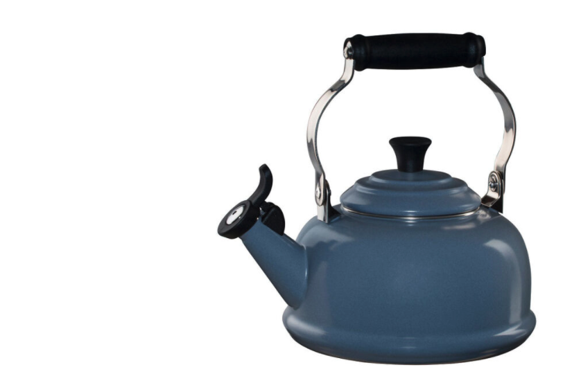 """<p><strong>Le Creuset </strong></p><p>lecreuset.com</p><p><a href=""""https://go.redirectingat.com?id=74968X1596630&url=https%3A%2F%2Fwww.lecreuset.com%2Fclassic-whistling-kettle-mineral-blue-1-4-5-qt-factory-to-table-sale%2FQ3101-MB.html&sref=https%3A%2F%2Fwww.cosmopolitan.com%2Ffood-cocktails%2Fg36067224%2Fle-creuset-factory-to-table-sale%2F"""" rel=""""nofollow noopener"""" target=""""_blank"""" data-ylk=""""slk:Shop Now"""" class=""""link rapid-noclick-resp"""">Shop Now</a></p><p><strong><del>$100</del> $50 (50% off)</strong></p><p>Can't start the day without a jolt of caffeine? Take your tea time to the next level with this sweet kettle. (It even whistles when your water is nice and hot!).</p>"""