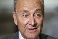 Senate Minority Leader Sen. Chuck Schumer of N.Y., speaks to the media, Tuesday, July 28, 2020, on Capitol Hill in Washington. (AP Photo/Jacquelyn Martin)
