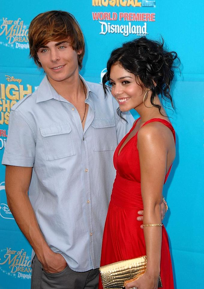 """High School Musical"" hotties Zac Efron and Vanessa Hudgens are a couple on and off-camera. Steve Granitz/<a href=""http://www.wireimage.com"" target=""new"">WireImage.com</a> - August 14, 2007"