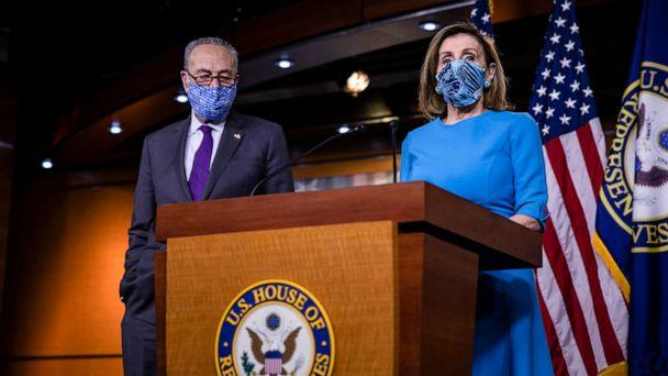 PHOTO: Speaker of the House Nancy Pelosi speaks alongside Senate Minority Leader Chuck Schumer during a joint press conference at the U.S. Capitol, Nov. 12, 2020, in Washington, DC. (Samuel Corum/Getty Images)