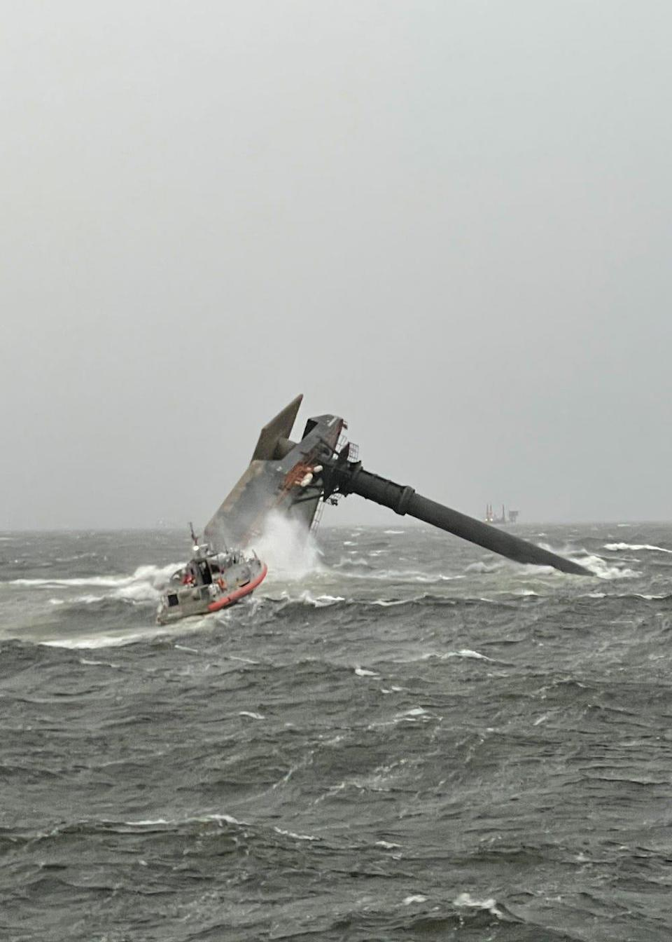 The Coast Guard and multiple good Samaritan vessels rescued six people from a capsized commercial vessel Tuesday off the coast of Louisiana.