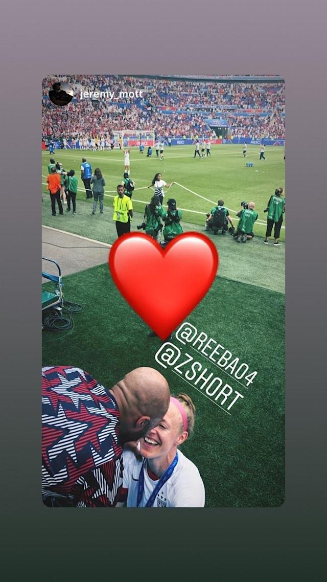 Defender Becky Sauerbrunn shares a photo featuring her celebrating the USWNT World Cup victory with boyfriend Zola Short. (@reeba04/Instagram)