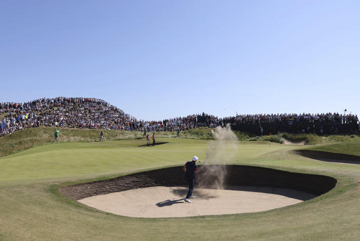 United States' Jordan Spieth plays out of a bunker on the 6th green during the final round of the British Open Golf Championship at Royal St George's golf course Sandwich, England, Sunday, July 18, 2021. (AP Photo/Ian Walton)