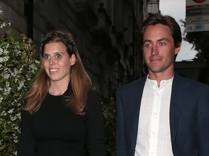 Princess Beatrice and Edoardo Mapelli Mozzi seen on a night out at Annabel's on July 09, 2019 in London, England.