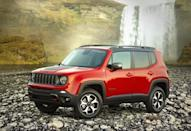 "<p>It's petite and made in Italy, but the <a href=""https://www.caranddriver.com/jeep/renegade"" rel=""nofollow noopener"" target=""_blank"" data-ylk=""slk:Jeep Renegade"" class=""link rapid-noclick-resp"">Jeep Renegade</a> in Trailhawk trim can be very effective off-road. Any Renegade can be equipped with all-wheel drive, but only the Trailhawk version features a low 21:1 crawl ratio and Rock mode via its selectable traction-control system. A standard locking differential and a four-lo setting that locks the front and rear driveshafts help this baby Jeep conquer treacherous terrain. It also boasts underbody protection, 8.7 inches of ground clearance, and a water-fording depth of up to 19 inches. A 180-hp 2.4-liter four is standard with a 177-hp 1.3-liter turbo four optional.<br></p>"