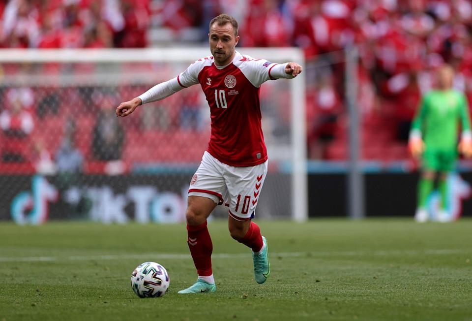 Denmark's Christian Eriksen controls the ball during the Euro 2020 match against Finland.