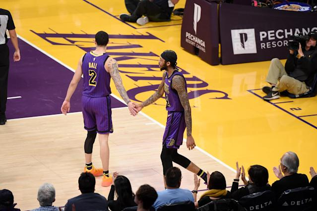 "<a class=""link rapid-noclick-resp"" href=""/nba/teams/lal"" data-ylk=""slk:Lakers"">Lakers</a> head coach Luke Walton says <a class=""link rapid-noclick-resp"" href=""/nba/players/5764/"" data-ylk=""slk:Lonzo Ball"">Lonzo Ball</a> and <a class=""link rapid-noclick-resp"" href=""/nba/players/5601/"" data-ylk=""slk:Brandon Ingram"">Brandon Ingram</a> need more passion and fight. (Adam Pantozzi/NBAE via Getty Images)"
