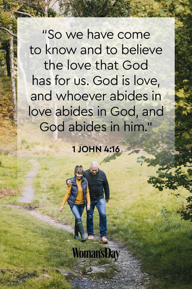 """<p>""""So we have come to know and to believe the love that God has for us. God is love, and whoever abides in love abides in God, and God abides in him.""""</p>"""