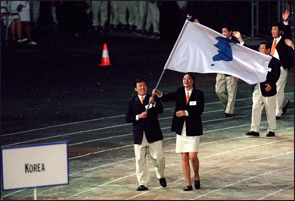 <p>For the first time in Olympic history, South and North Korean delegates united under one flag for the opening ceremony. </p>