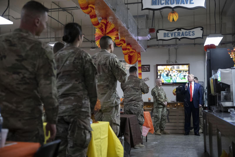 President Donald Trump speaks during a surprise Thanksgiving Day visit to the troops, Thursday, Nov. 28, 2019, at Bagram Air Field, Afghanistan. (AP Photo/Alex Brandon)