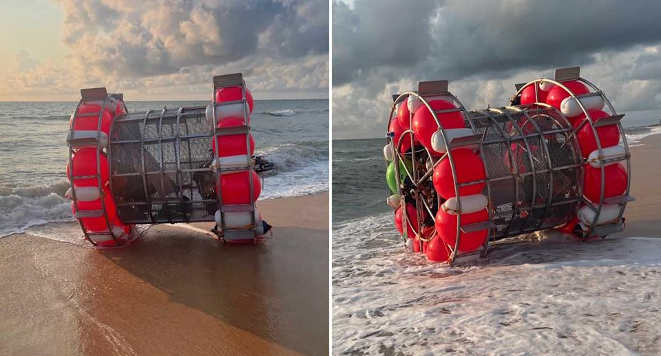 A large floatation device called a hydro pod washed up on a beach in Florida.
