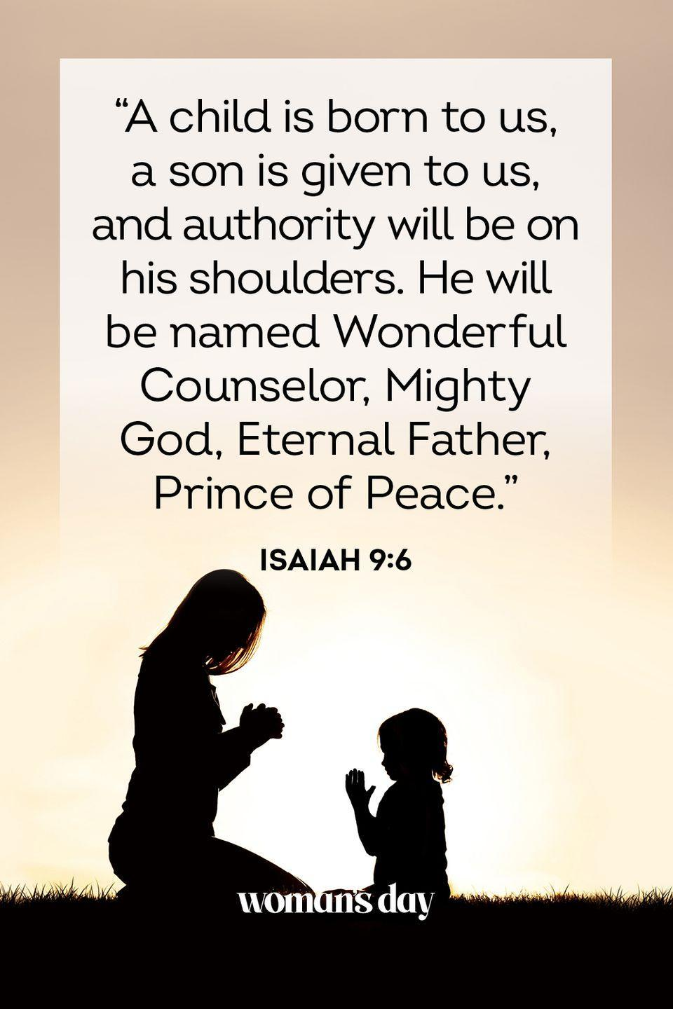 """<p>""""A child is born to us, a son is given to us, and authority will be on his shoulders. He will be named Wonderful Counselor, Mighty God, Eternal Father, Prince of Peace."""" — Isaiah 9:6</p><p><strong>The Good News</strong>: God is here to shoulder your burdens. Lighten your load by handing them over to him.</p>"""