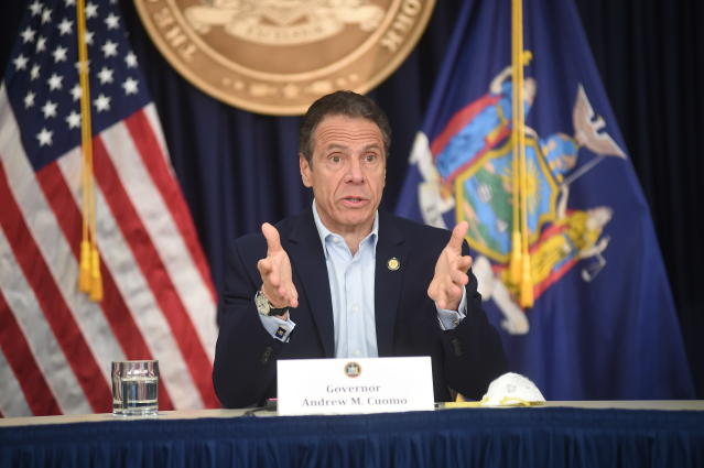 New York Gov. Andrew Cuomo briefs the media during a coronavirus news conference. (AP)