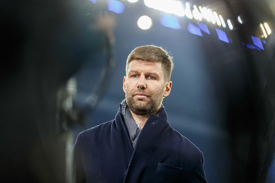 HAMBURG, GERMANY - OCTOBER 29: chief of sport Thomas Hitzlsperger of VfB Stuttgart looks on prior to the DFB Cup second round match between Hamburger SV and VfB Stuttgart at Volksparkstadion on October 29, 2019 in Hamburg, Germany. (Photo by TF-Images/Getty Images)