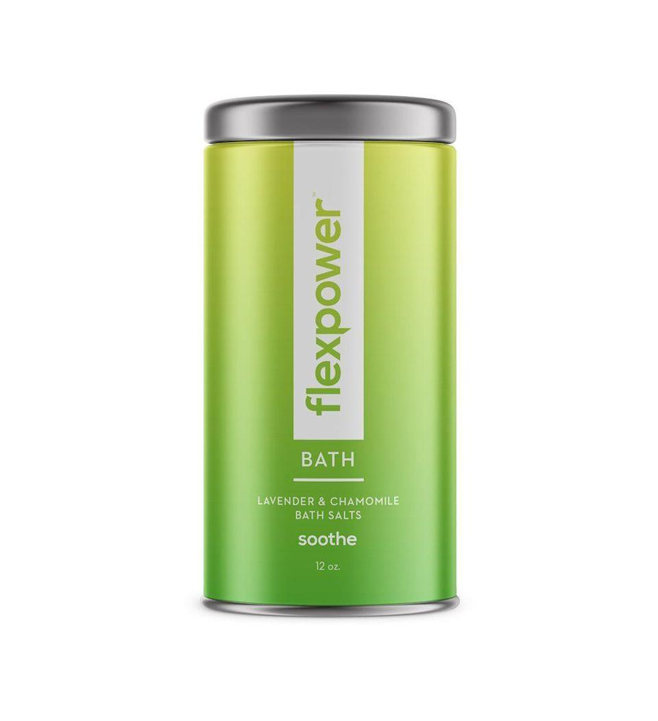 "<p><strong>Flexpower </strong></p><p>flexpower.com</p><p><strong>$42.00</strong></p><p><a href=""https://shop.flexpower.com/collections/bath-salts/products/soothe-bath-salt-lavender-chamomile-12oz"" rel=""nofollow noopener"" target=""_blank"" data-ylk=""slk:Shop Now"" class=""link rapid-noclick-resp"">Shop Now</a></p><p>Giving the gift of self-care is always a good idea, and these lavender and chamomile bath salts are a great place to start. This makes for an exceptionally good gift for recipients who are super active.</p>"