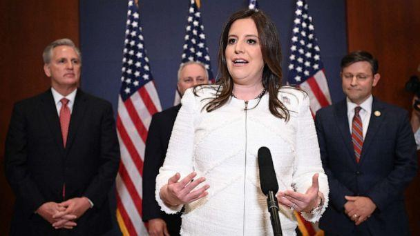 PHOTO: Rep. Elise Stefanik speaks to reporters after House Republicans voted for her as their conference chairperson at the US Capitol in Washington on May 14, 2021. (Mandel Ngan/AFP via Getty Images)