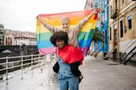 """<p>We celebrated Pride Month virtually last year, and it had even more significance <a href=""""https://www.nytimes.com/article/gay-pride-2020-events-online.html"""" rel=""""nofollow noopener"""" target=""""_blank"""" data-ylk=""""slk:in conjunction with BLM protests"""" class=""""link rapid-noclick-resp"""">in conjunction with BLM protests</a>. You may have seen the hashtag <a href=""""https://www.instagram.com/explore/tags/blacktranslivesmatter/?hl=en"""" rel=""""nofollow noopener"""" target=""""_blank"""" data-ylk=""""slk:#BlackTransLivesMatter,"""" class=""""link rapid-noclick-resp"""">#BlackTransLivesMatter,</a> for instance, or the raised-fist <a href=""""https://www.instagram.com/p/CBbq9gTJSpF/"""" rel=""""nofollow noopener"""" target=""""_blank"""" data-ylk=""""slk:resistance Pride flag"""" class=""""link rapid-noclick-resp"""">resistance Pride flag</a>. Though there still may be fewer in-person celebrations this year, there are plenty of marches and activities (as well as quieter ways to celebrate) <a href=""""https://www.marieclaire.com/fashion/g27699506/pride-clothing-rainbow-outfits/"""" rel=""""nofollow noopener"""" target=""""_blank"""" data-ylk=""""slk:in 2021 and in every June"""" class=""""link rapid-noclick-resp"""">in 2021 and in every June</a>. As such, you'll likely see a lot of different flags that embody different aspects of the LGBTQ+ community. So what does each Pride flag represent? </p><p>This list uses information from the <em><a href=""""https://www.advocate.com/pride/2018/6/13/complete-guide-queer-pride-flags#media-gallery-media-1"""" rel=""""nofollow noopener"""" target=""""_blank"""" data-ylk=""""slk:The Advocate"""" class=""""link rapid-noclick-resp"""">The Advocate</a></em><span>'s</span> comprehensive guide, but even outside of this article, there are many more iterations of Pride flags that exist, including <a href=""""https://www.timeslive.co.za/news/south-africa/2012-10-08-gay-flag-for-a-queer-south-africa/"""" rel=""""nofollow noopener"""" target=""""_blank"""" data-ylk=""""slk:flags from different countries"""" class=""""link rapid-noclick-resp"""">flags from different countries</a> and states, flags th"""