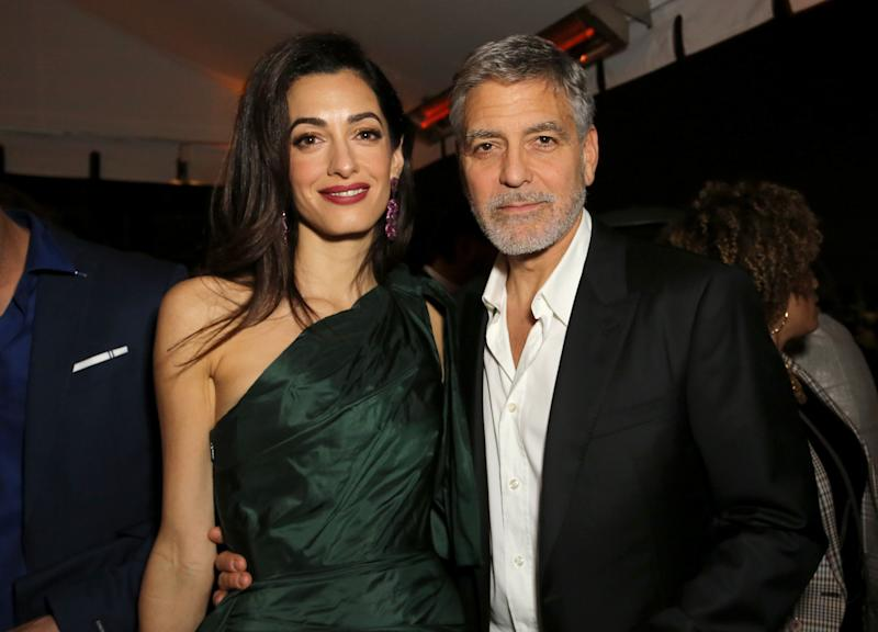 "(L-R) Amal Clooney and George Clooney attends the premiere of Hulu's ""Catch-22"" on May 07, 2019 in Hollywood, California. (Photo by Rachel Murray/Getty Images for Hulu)"