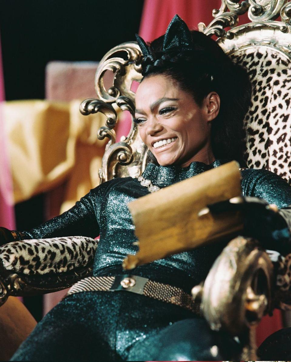 <p>Eartha Kitt's rendition of Catwoman from the 1960s is nothing short of glamorous, and it's a lot easier to capture than you may think, especially for the office. Invest in a sleek bodysuit to anchor your Halloween look and accessorize with chunky gold add-ons (think, chain-link belts and necklaces) and cat ears, of course. </p>
