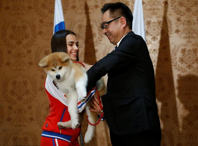 Endo Takashi, head of the Association for the preservation of the purity of the Akito breed, presents an Akita Inu puppy to Russian figure skating gold medallist Alina Zagitova in Moscow, Russia May 26, 2018. REUTERS/Maxim Shemetov