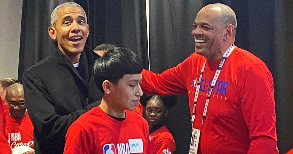 Barack Obama Makes Surprise Appearance at NBA Cares Event During All-Star Weekend
