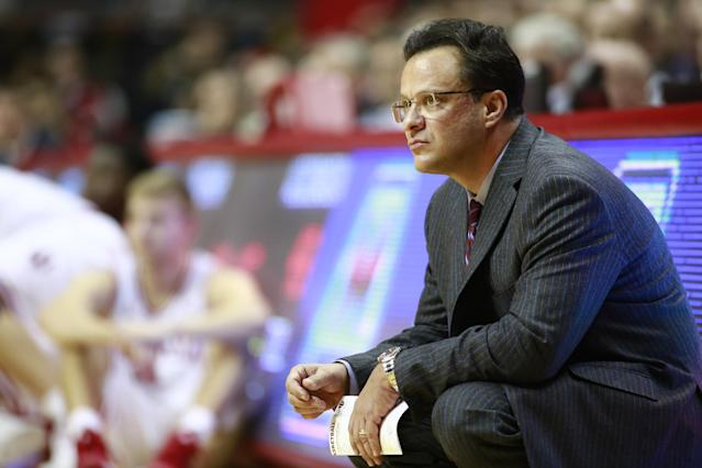 Indiana coach Tom Crean watches his team play in the second half of an NCAA basketball game against Wisconsin in Bloomington, Ind. Tuesday, Jan. 14, 2014. Indiana won 75-72. (AP Photo/R Brent Smith)