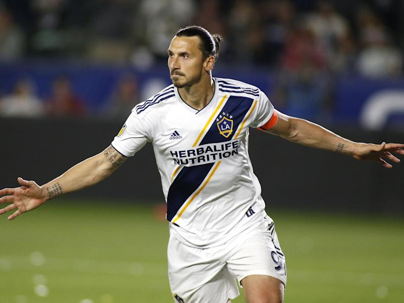 Zlatan Ibrahimovic of Los Angeles Galaxy celebrates: Getty Images