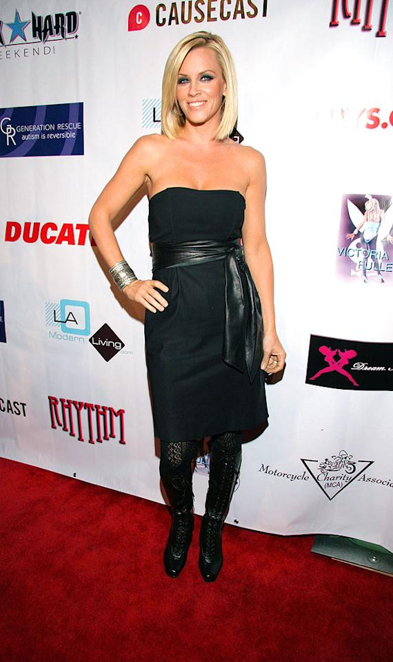 """Jenny McCarthy's belted black dress, lace leggings, and patent leather pumps made for the perfect outfit. Steve H./<a href=""""http://www.splashnewsonline.com"""" target=""""new"""">Splash News</a> - October 4, 2008"""