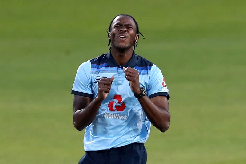 FILE PHOTO: England's Jofra Archer reacts during the second one-day international v Australia