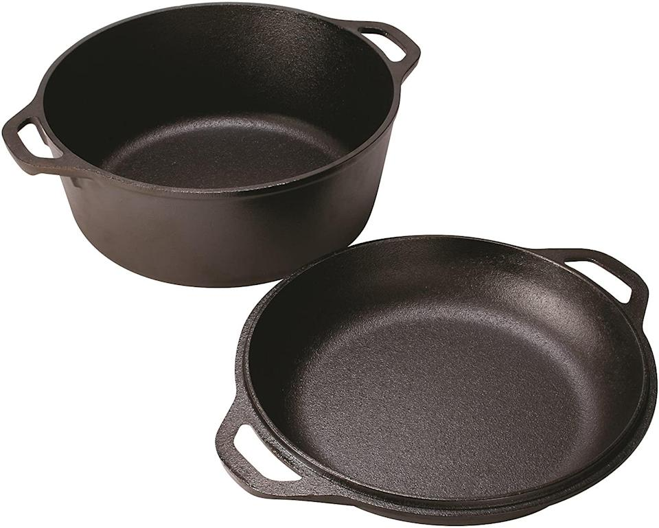 "<p>We don't need to tell you Memaw's cast iron is a family treasure, do we? The lid to this 5-quart Dutch oven does double duty as a skillet, and the loop handles help secure your gumbo.</p> <p><strong>BUY IT: </strong>Lodge Pre-Seasoned 5-Quart Cast Iron Double Dutch Oven, $49.90; <a href=""https://www.amazon.com/dp/B000LEXR0K?&linkCode=ll1&tag=slthingsfromgrandmothershousevluesse0321-20&linkId=c3411b83c65c6db6c0b16b3539152bac&language=en_US&ref_=as_li_ss_tl"" rel=""sponsored noopener"" target=""_blank"" data-ylk=""slk:amazon.com"" class=""link rapid-noclick-resp"">amazon.com</a></p>"